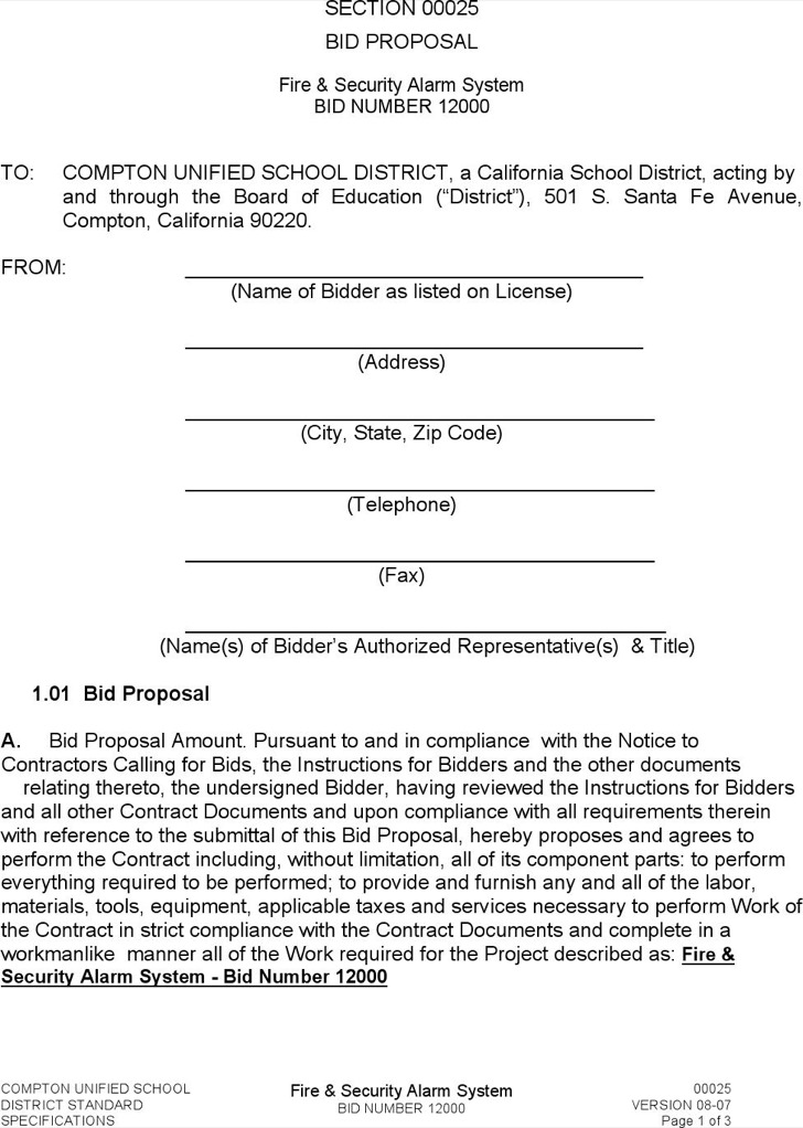 Contractor Bid Proposal Template