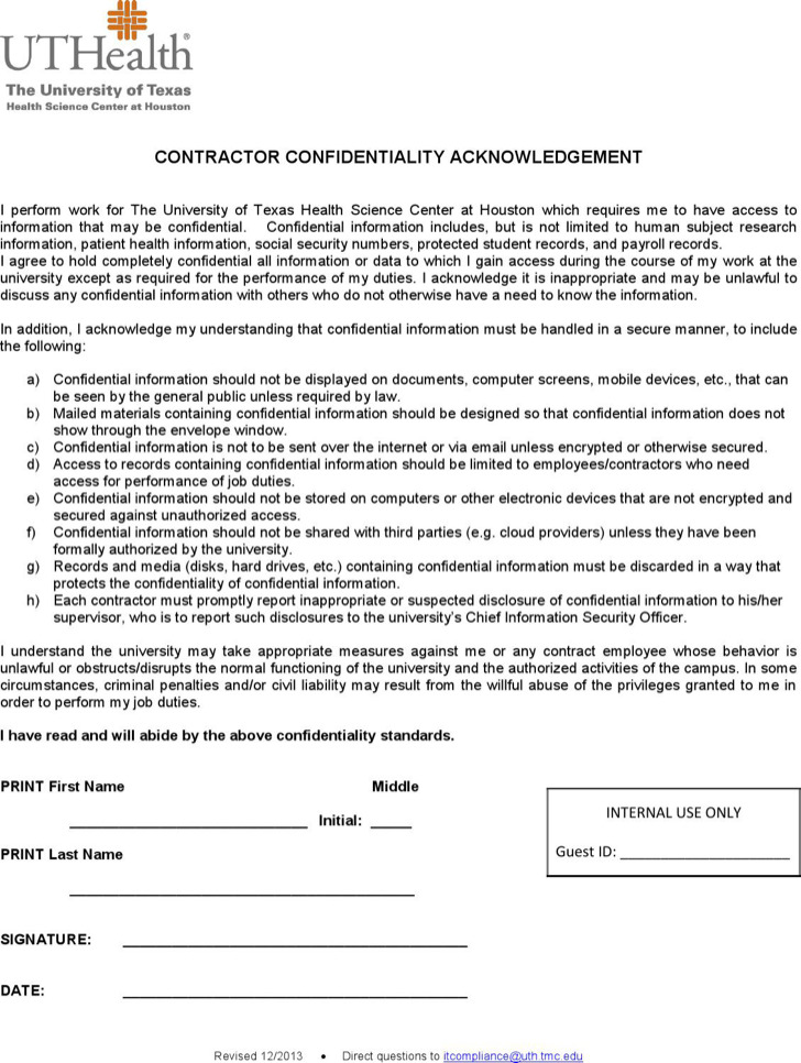 Contractor Confidentiality Acknowledgement