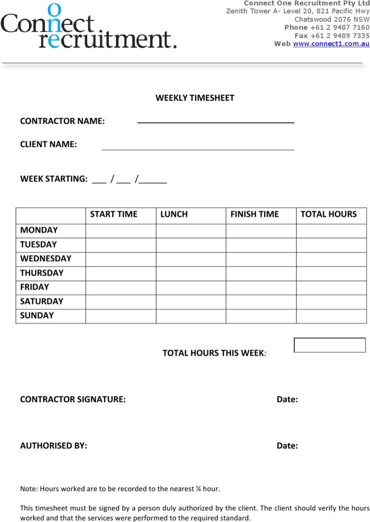 Contractor Weekly Timesheet Template Download In Pdf