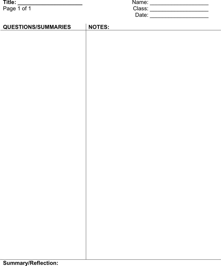 Cornell Notes Template 1