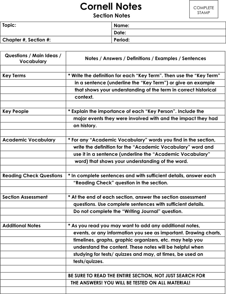 Cornell Notes Template 3