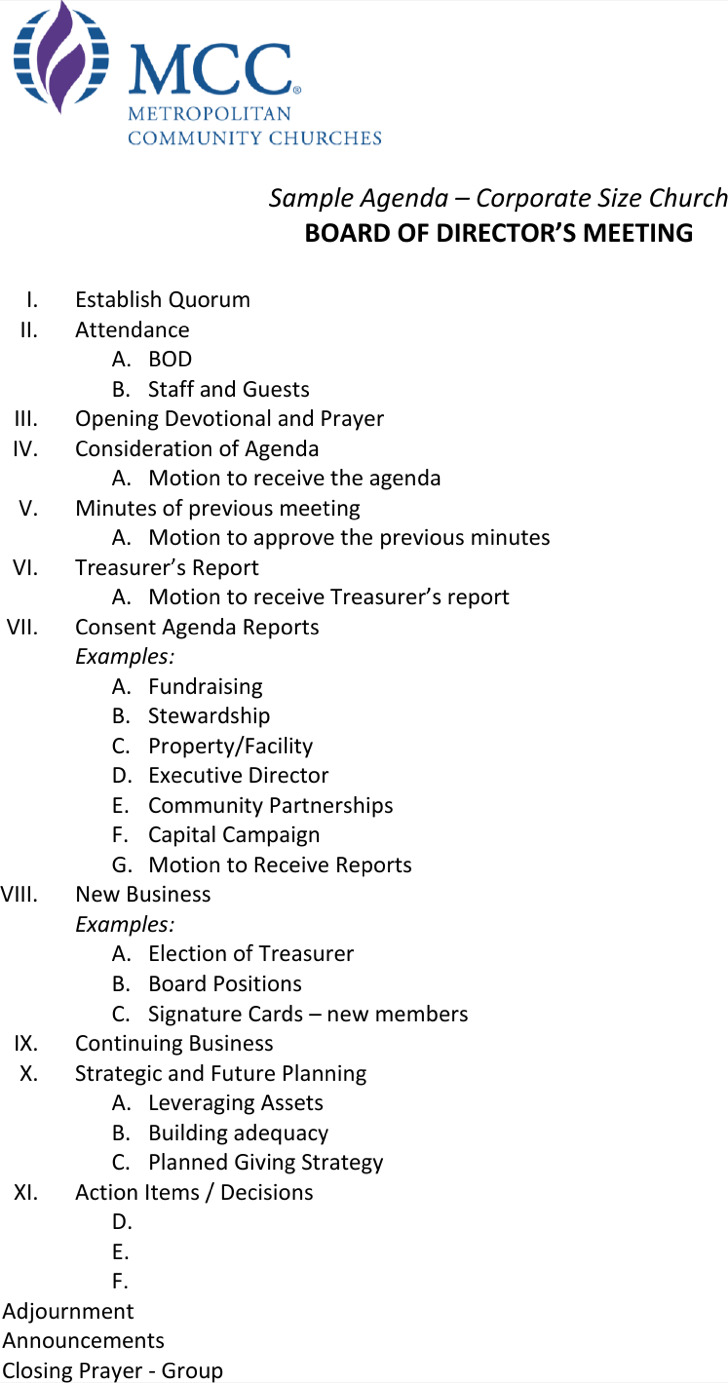 Corporate Board Of Directors Meeting Agenda Example