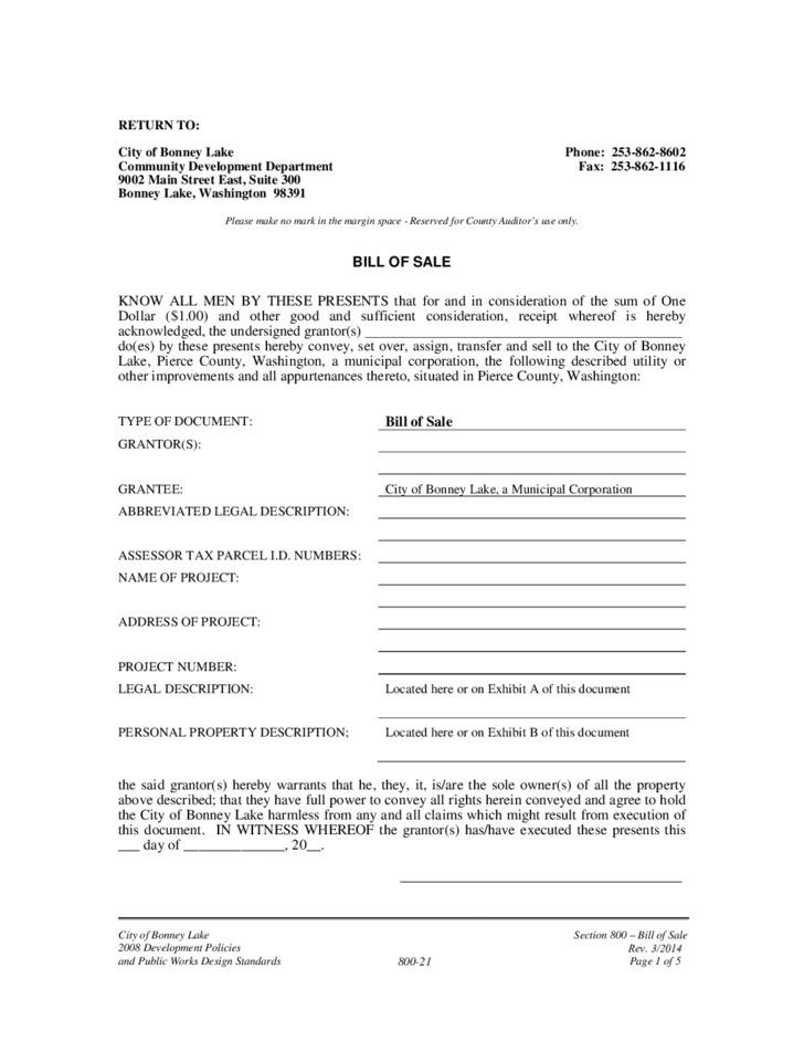Corporate Company Bill of Sale Example