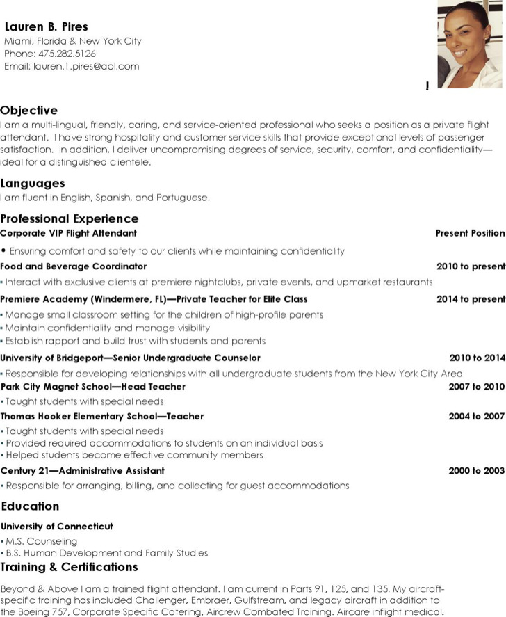 5+ Flight Attendant Resume Templates Free Download