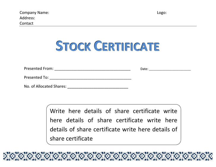 Corporate Stock Certificate Template Word Format Download