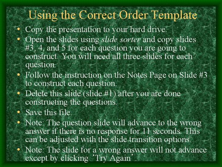 Correct Order Game Template