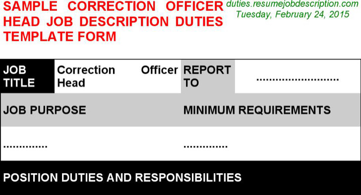 Correction Officer Head Job Description
