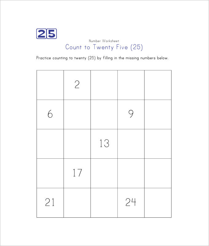 Count to Twenty Five Missing Numbers Worksheet Template