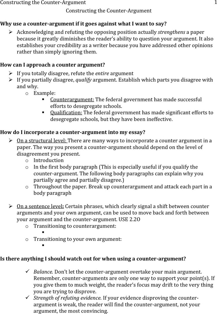 Counter Argument Example 3