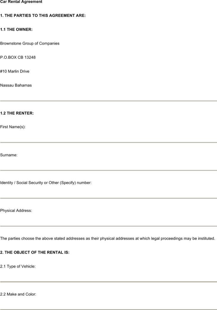 Cra Rental Agreement Free Word Format