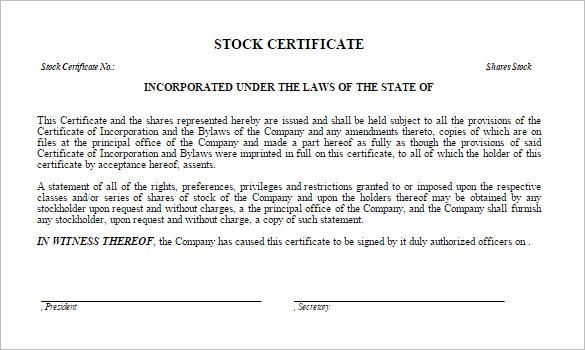 21 Share Stock Certificate Template Free Download
