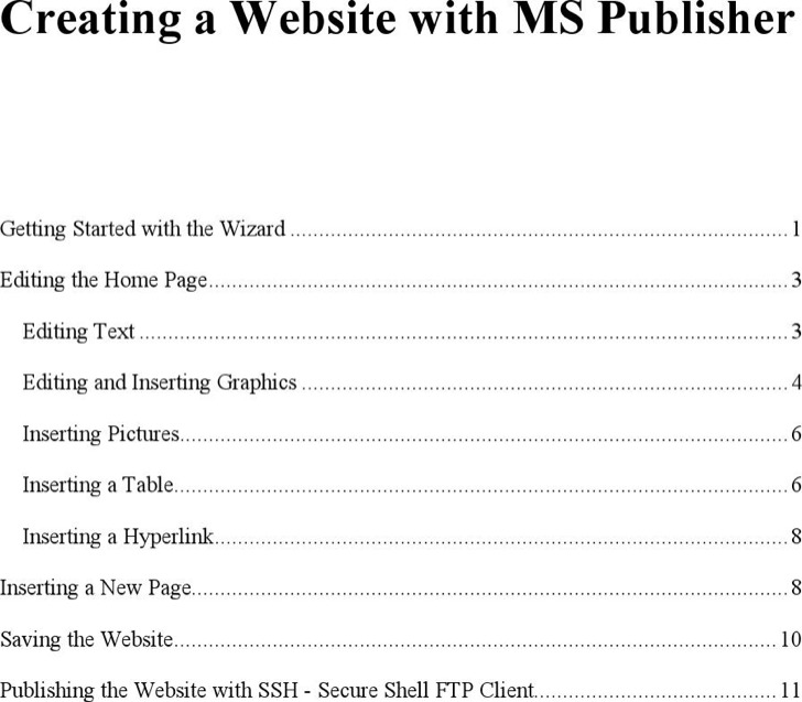 Creating A Web Site With Publisher