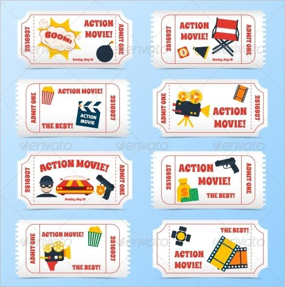 Creative Action Movie Tickets Set