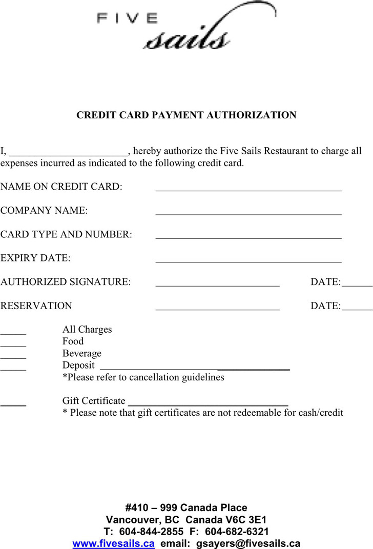 Credit Card Payment Authorization Template 1