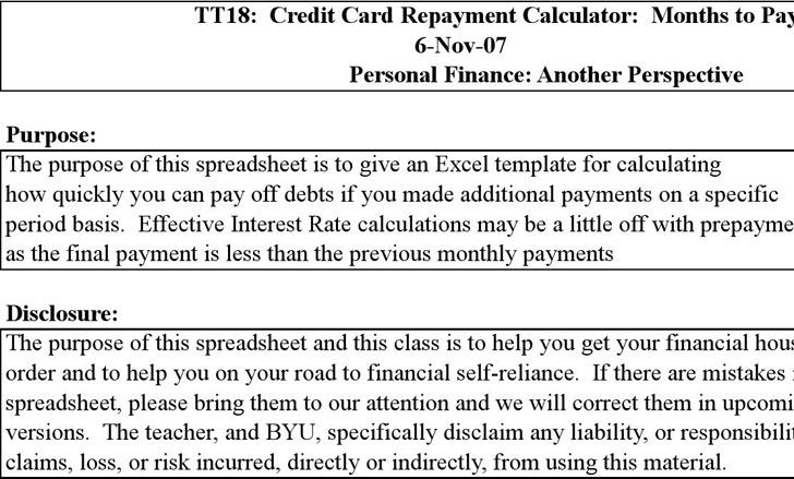Credit Card Repayment Spreadsheet