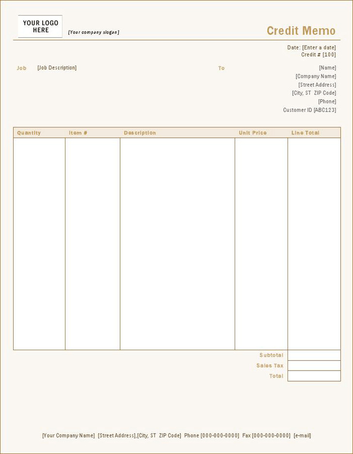 Credit Memo (Sienna Design)