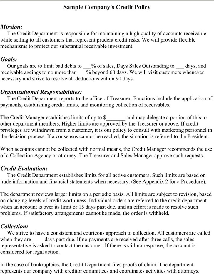 Credit Policy Template