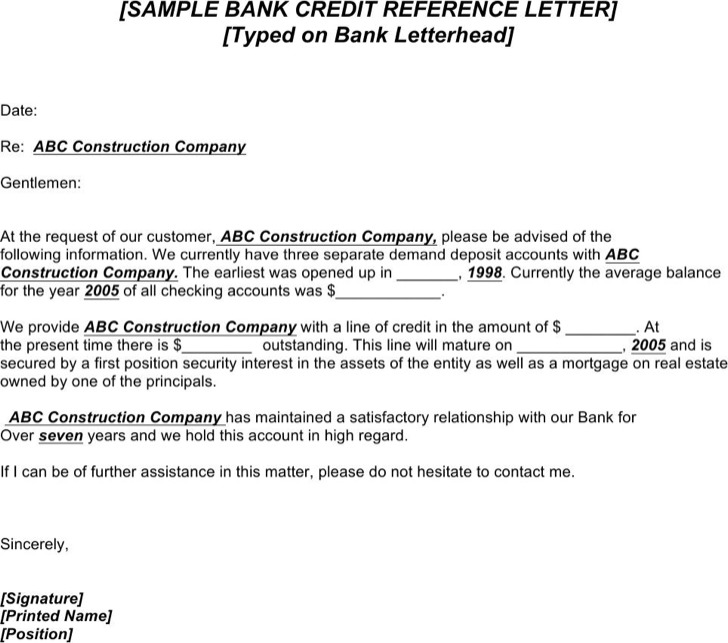 Credit Reference Letter From Bank