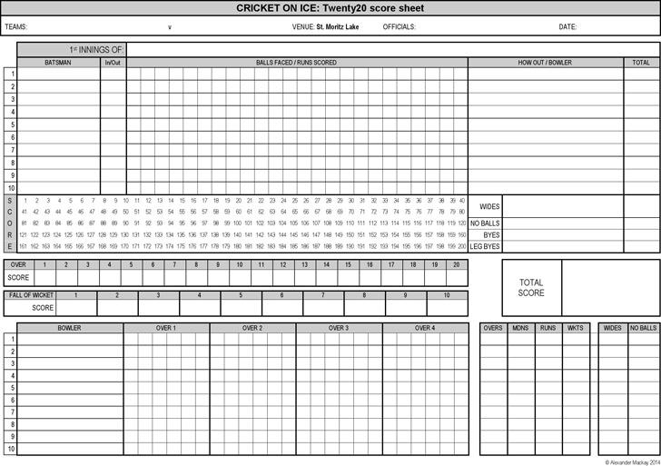 Cricket Score Sheet 2