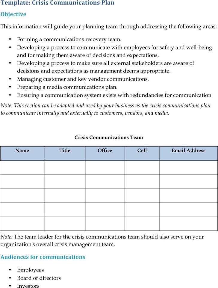 Crisis Communication Plan Templates