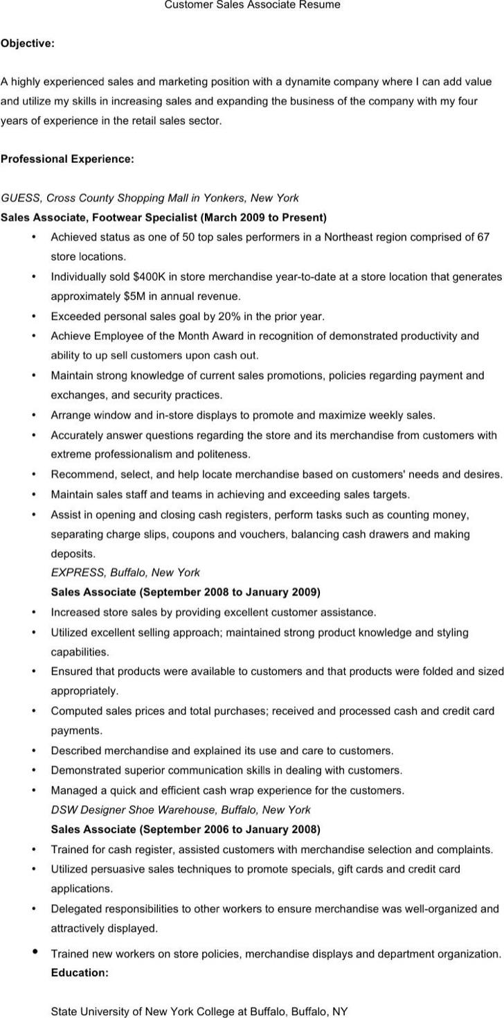 Customer Sales Associate Resume