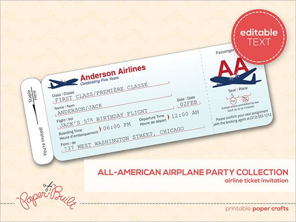 Customizable Airline Ticket Invitation Templae