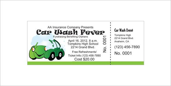 Customizable Car Wash Ticket Free Download