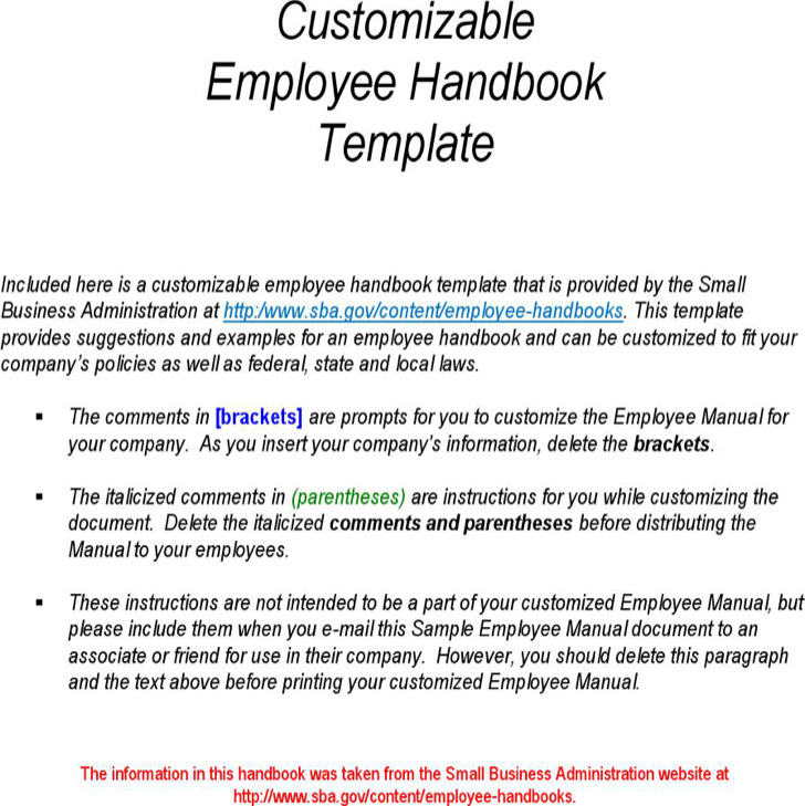 Customizable Employee Handbook Template