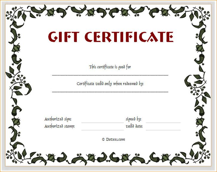 34  gift certificate template free download