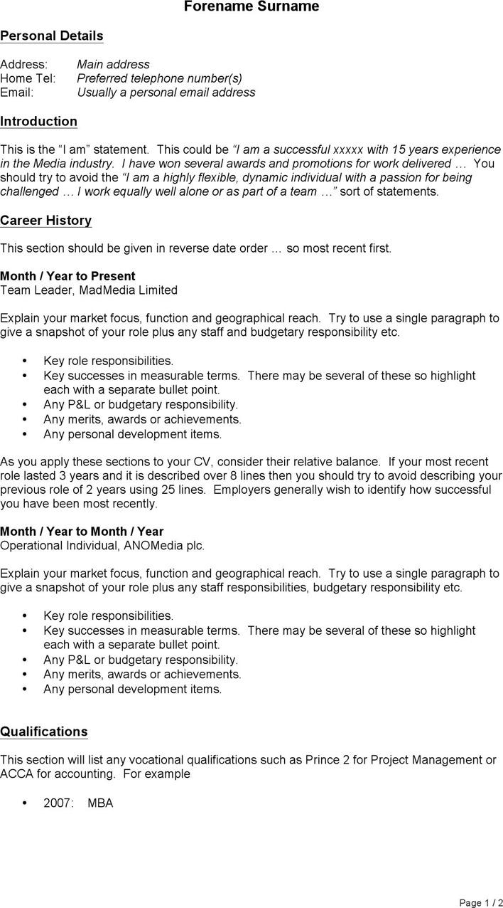 CV Example General