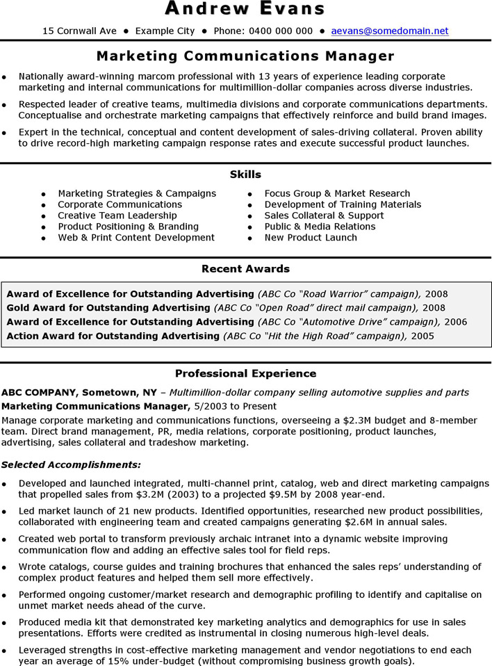 CV Template Marketing Manager