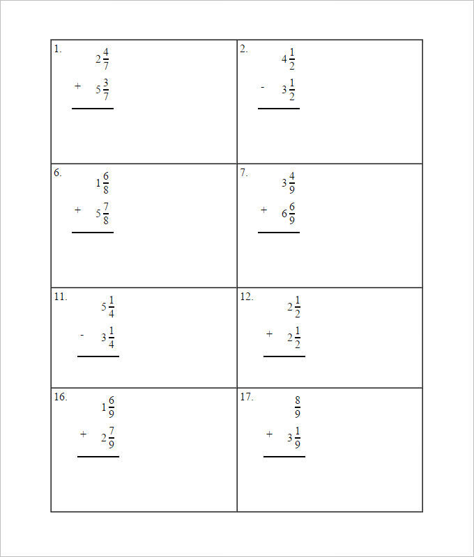 Daily Math Adding Fractions Worksheet Template