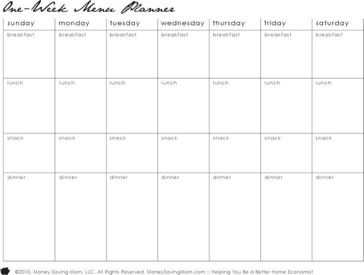 Daily Or One Week Planner For Dinner