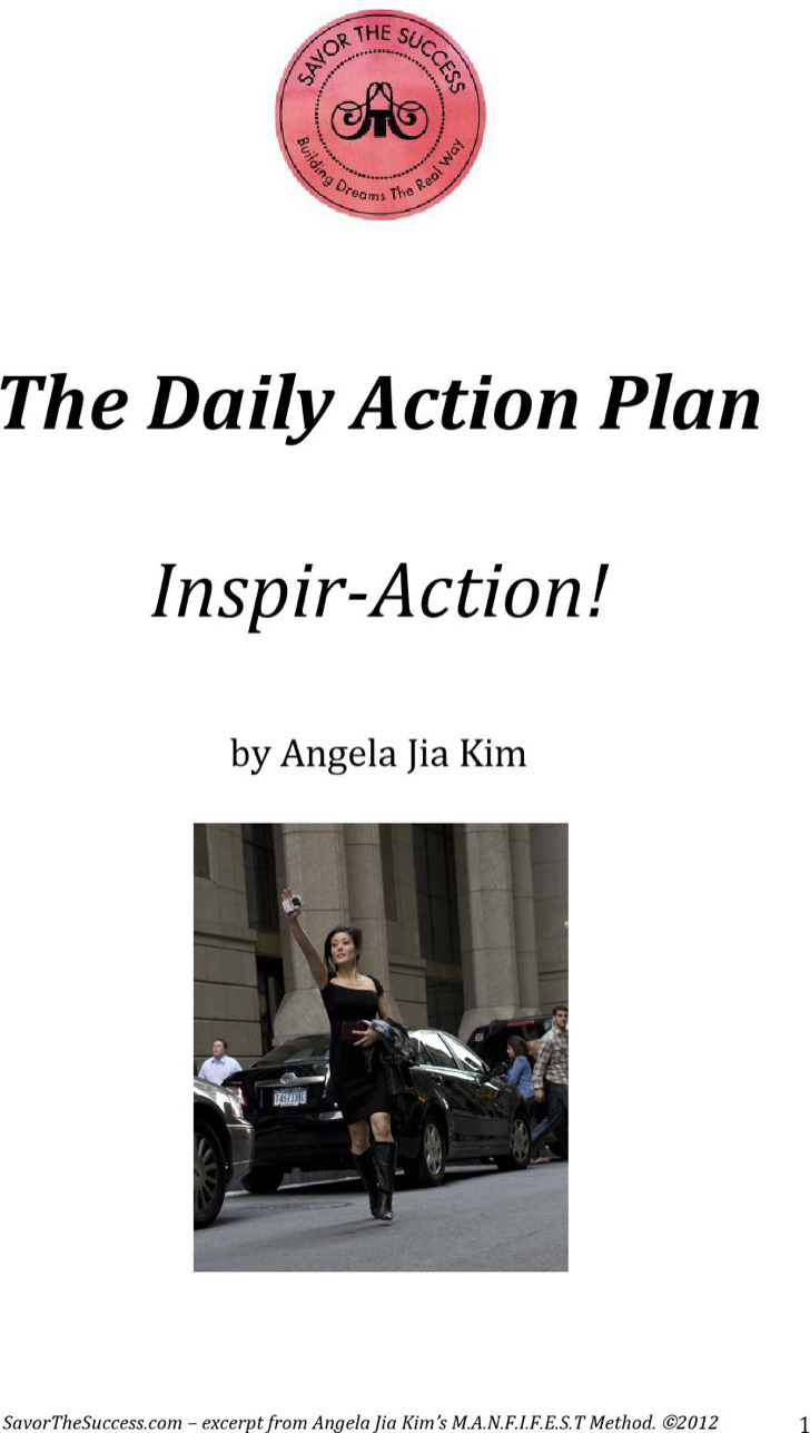 Daily Sales Plan Action Template
