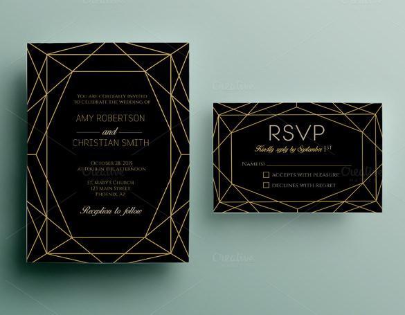 Dark Background Wedding Invitation Template For Download