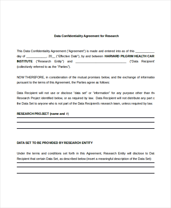 Data Confidentiality Agreement for Research