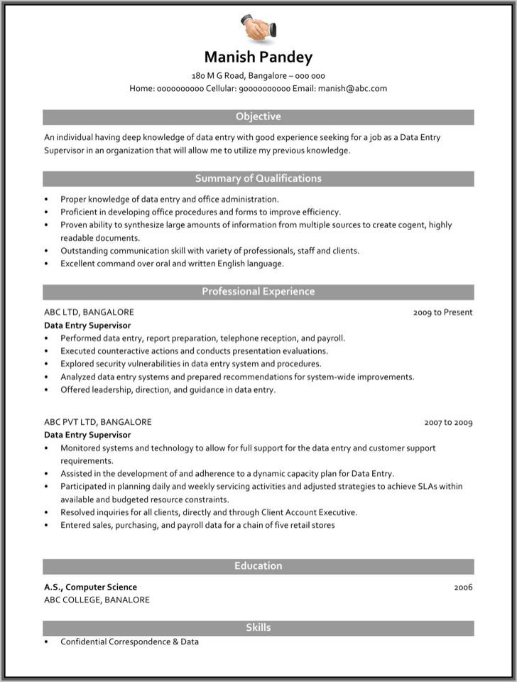 Data Entry Supervisor Resume Free Sample