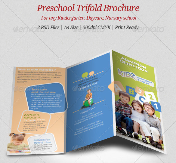 Day Care Preschool Trifold Brochure Template PSD Format