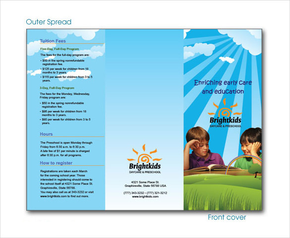 Daycare and Preschool Center Brochure Template Downlaod