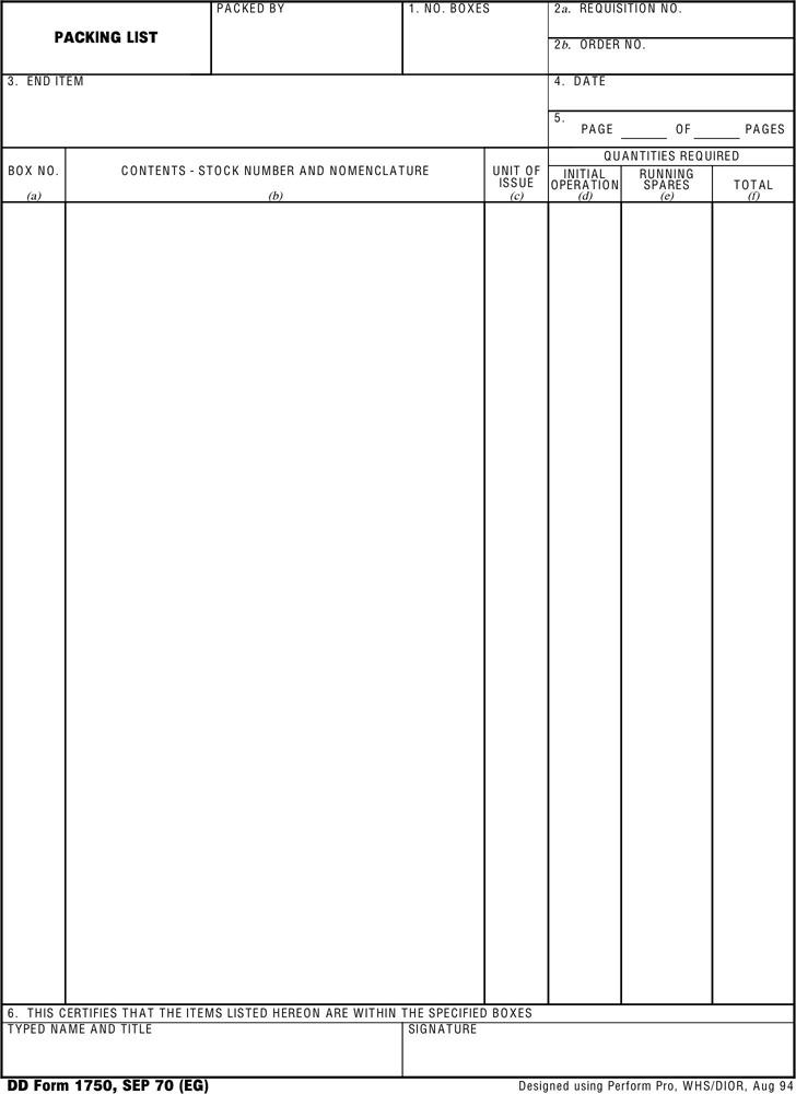 DD Form 1750