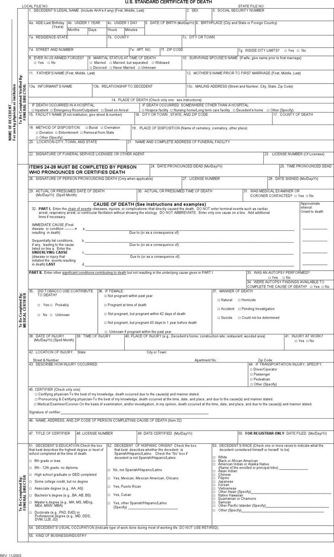 Death Certificate Form