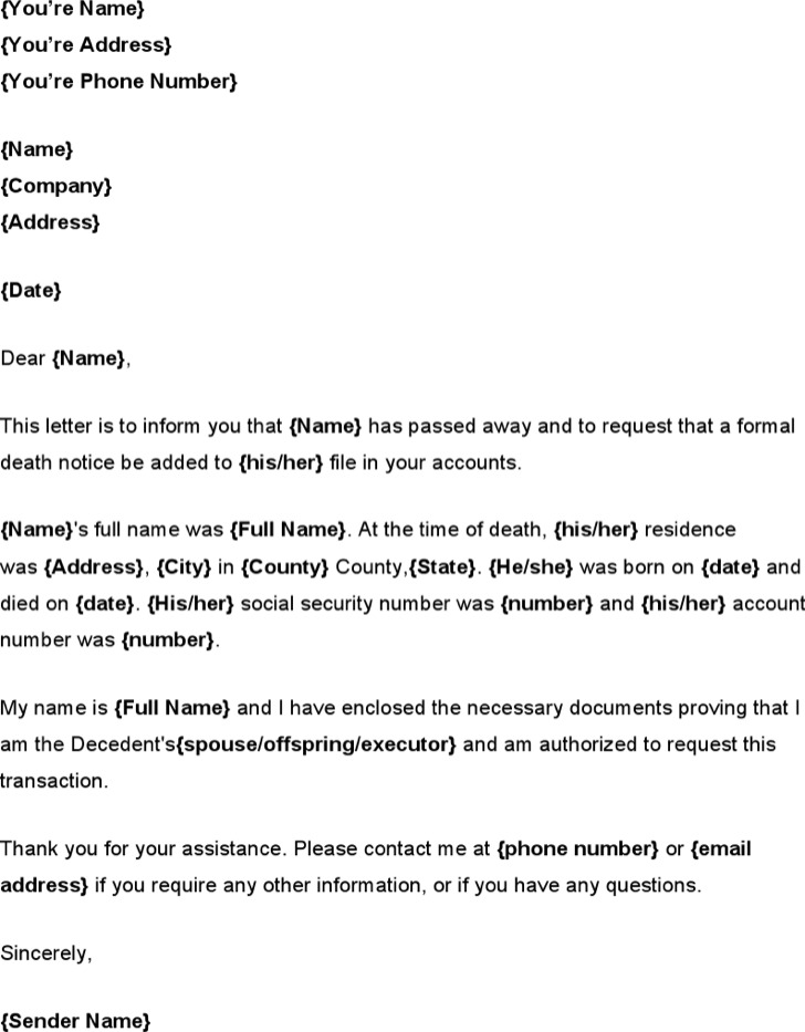 Death Notice Sample PDF Download