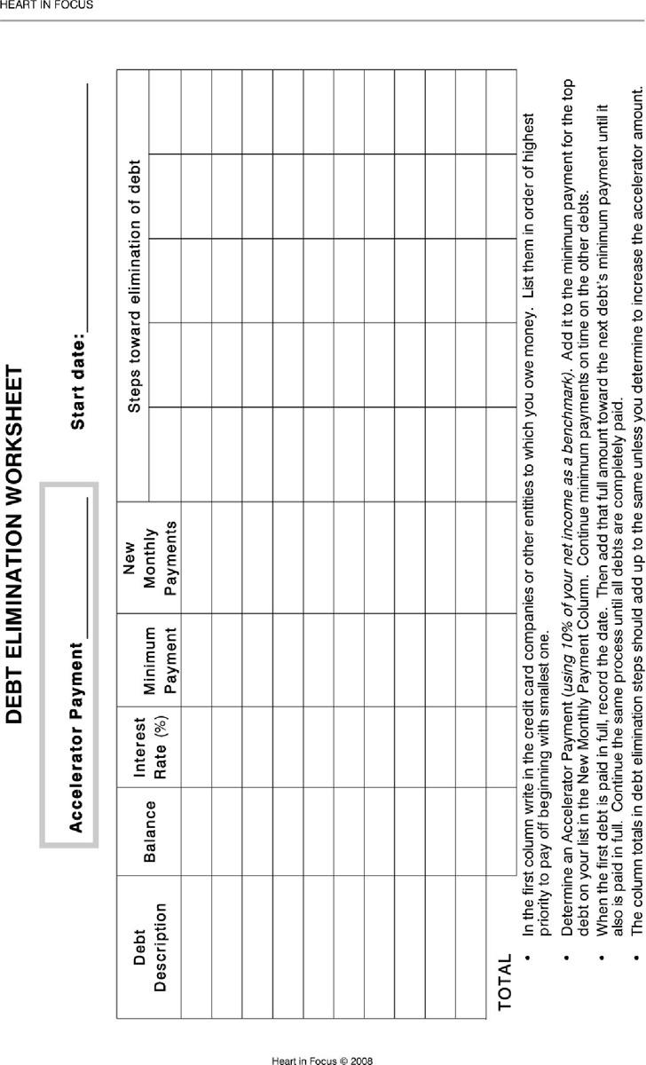 Debt Elimination Worksheet