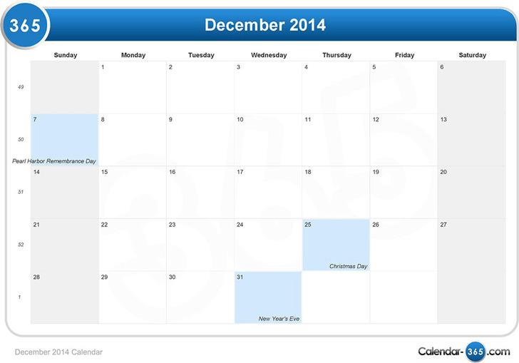 December 2014 Calendar 1