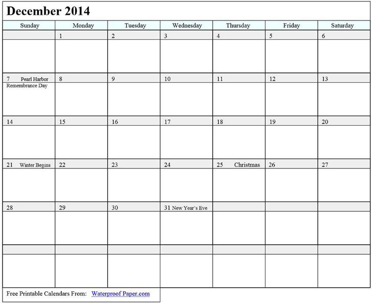 December 2014 Calendar 2