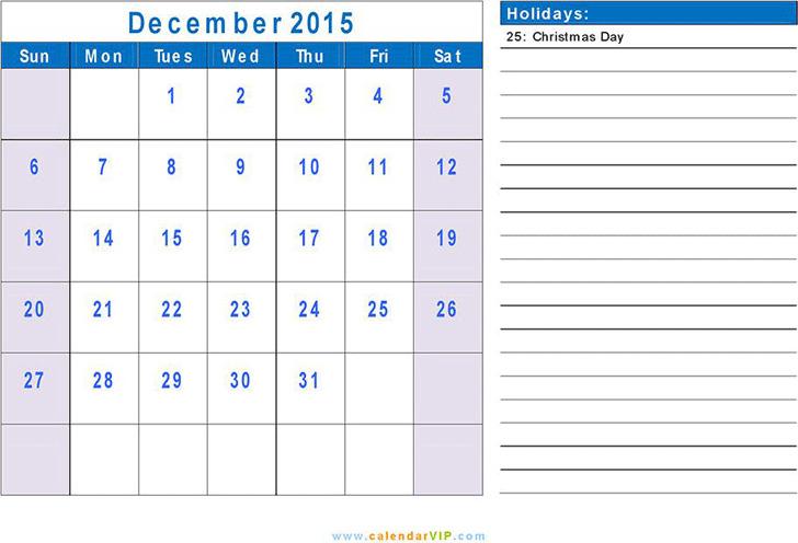 December 2015 Calendar 1
