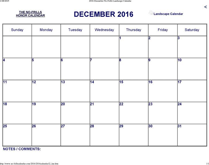 December 2016 Calendar 1