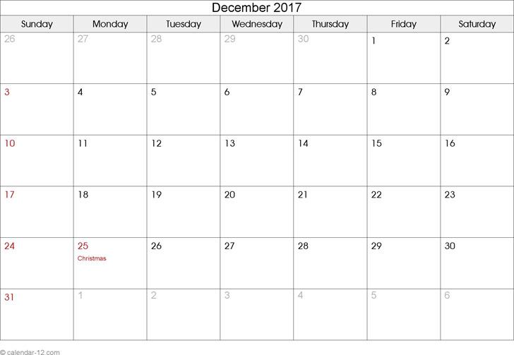 December 2017 Calendar 2