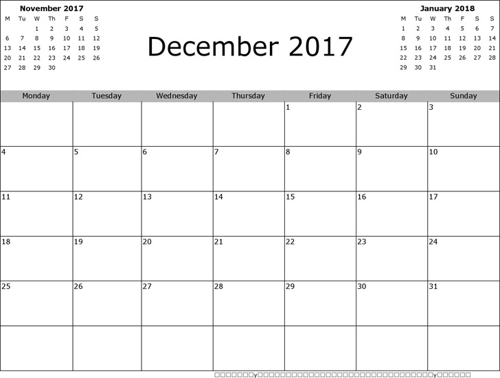 December 2017 Calendar 3
