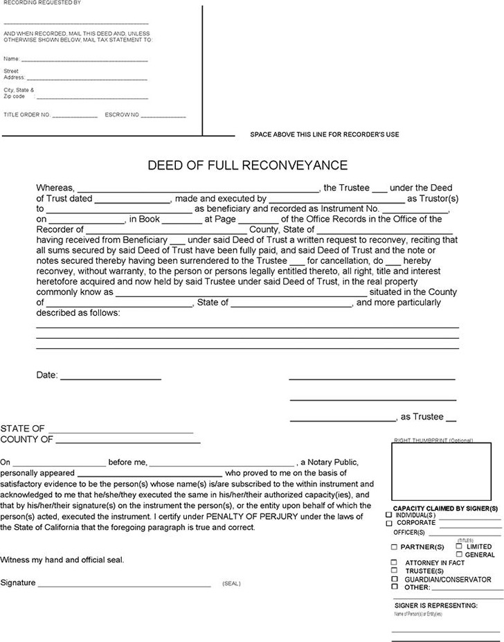 Deed of Full Reconveyance Form